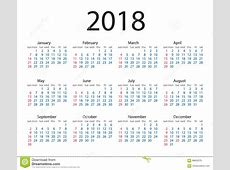 Calendar 2018 Year Simple Style Week Starts From Sunday