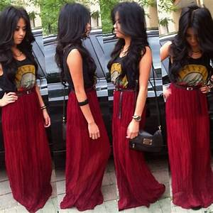 Cute maxi skirt outfit love it with the 80s band shirt! | || G E T T I N G D R E S S E D ...