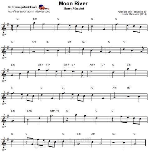 moon river easy guitar sheet guitar sheet