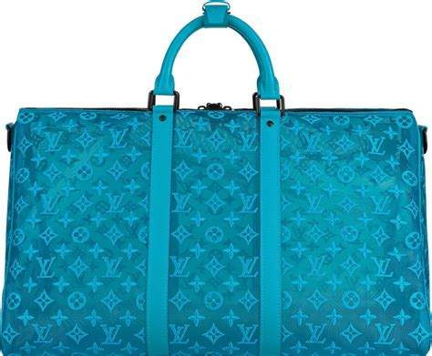louis vuitton blue mesh keepall  duffle bag incorporated style