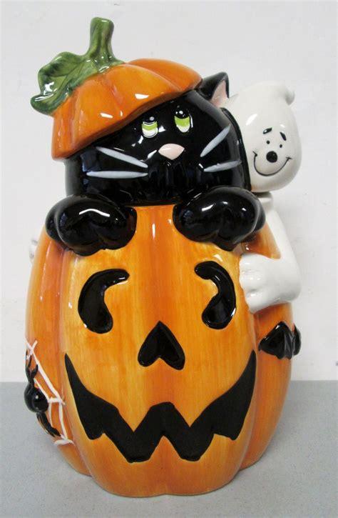 cookie jar jars ceramic cookies david halloween pumpkin cat ghost pottery collectibles mccoy davids pig ceramics antique heart