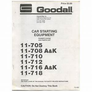 Original 1980 U0026 39 S Goodall Car Starting Equipment Owner U2019s