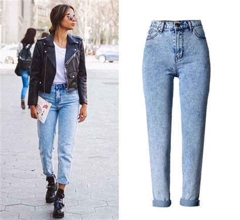 Jeans woman high waist loose straight jeans trousers fashion blue jeans street Snowflake Plus ...