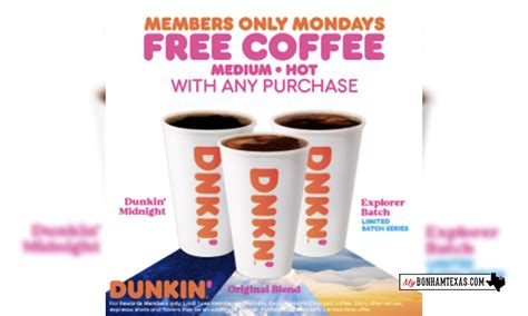 In select parts of the country, mcdonald's and dunkin' donuts are trying to draw in customers and boost business by promising a free caffeine fix on the dreariest day of the work week. Dunkin' to offer free coffee every Monday in February - My Bonham Texas