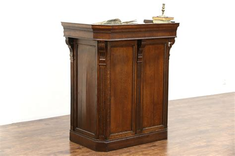 sold oak carved antique  restaurant reception desk