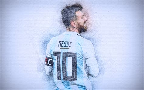Wallpaper Hd Abstract Music Download Wallpapers 4k Lionel Messi 2018 Artwork Football Stars Argentine National Team