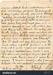 fragment old handwritten letter written polish stock photo With handwritten letter paper