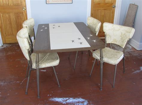 atomic 1950s formica dinette kitchen table with four chairs