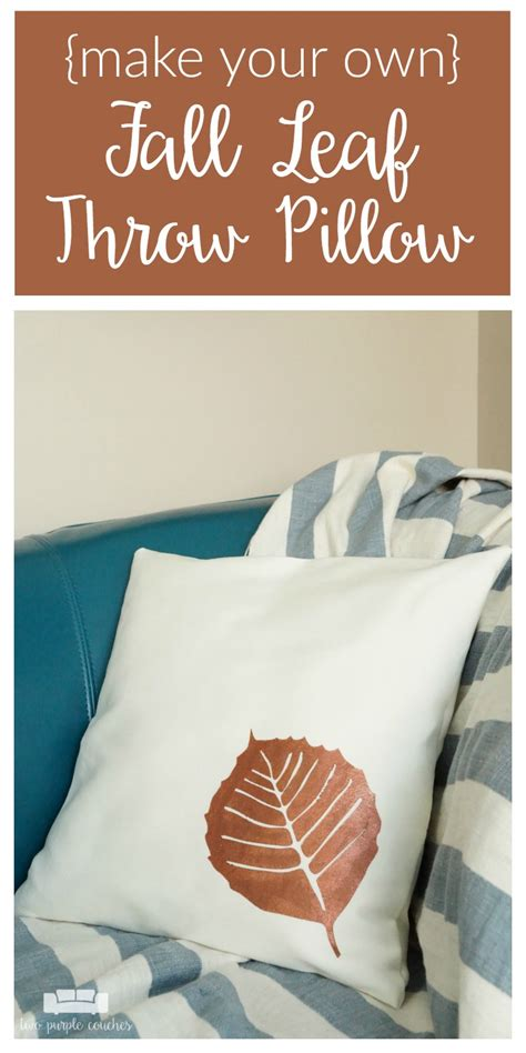 make your own throw pillows stenciled fall leaf throw pillow two purple couches