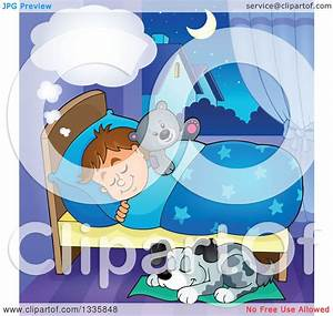 Clipart of a Cartoon Dog Sleeping by a Dreaming Brunette ...