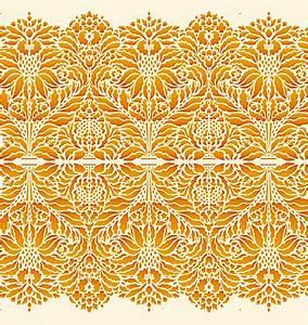 Indian Floral Damask Border Stencil - Henny Donovan Motif