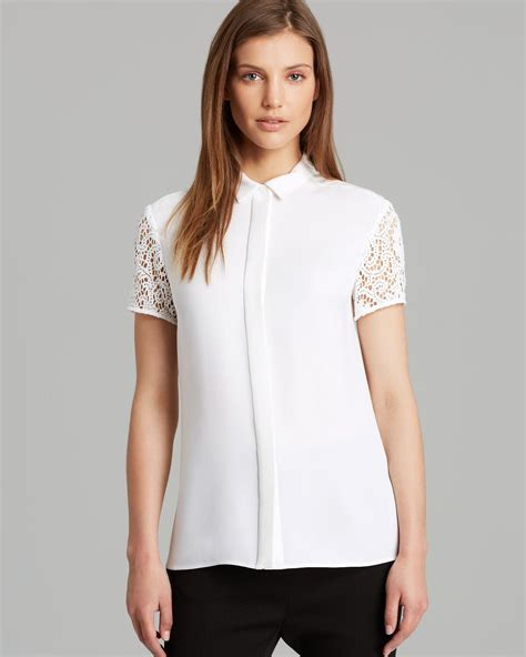 lace collar blouse burberry blouse lace collar in white lyst