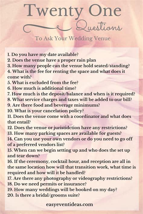 questions    wedding venue easy event ideas