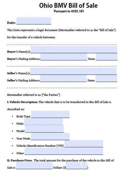 ohio bmv vehicle bill  sale form  word
