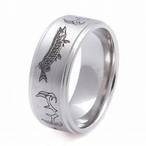 antler and musky hunting and fishing band titanium buzz With mens fishing wedding rings
