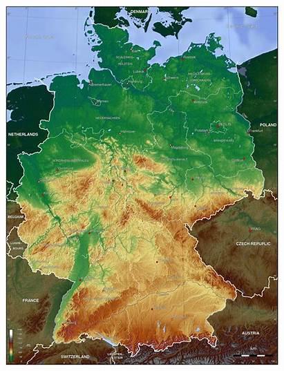 Germany Map Deutschland Physical Karte Duitsland Elevation