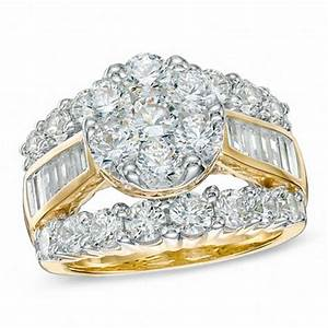 4 ct tw diamond cluster engagement ring in 14k gold With zales gold wedding rings