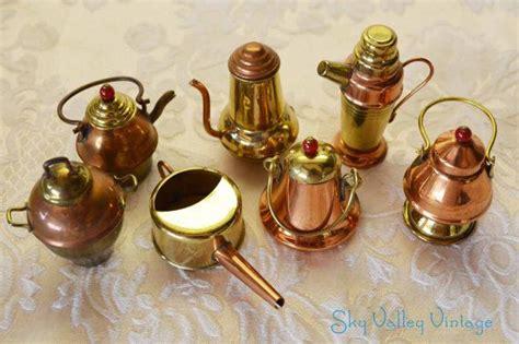 doll house brass copper japan tea pots pans kitchen serving dishes miniature vintage set