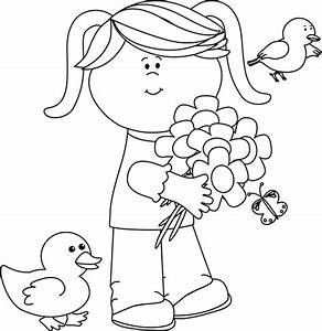 Black and White Spring Friends Clip Art - Black and White ...