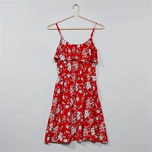 robe fleurie a volants fille adolescente rouge kiabi With robe rouge fleurie