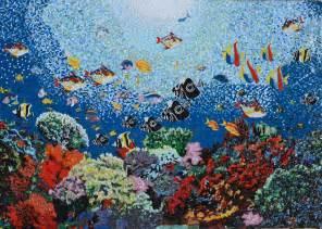 Floor Lamp Clear Glass Shade by Glass Mosaic Aquatic Ocean Scene Pool Tiles Mozaico
