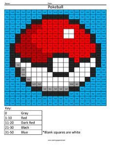 pokemon multiplication  division coloring squared