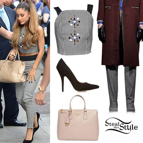 Ariana Grande: Gingham Outfit, Suede Pumps | Steal Her Style