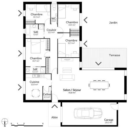 plan maison 4 chambre plain pied plan maison plain pied en l avec 4 chambres ooreka