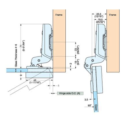Glass Door Hinges   EUROPEAN GLASS DOOR HINGE (INSET) G230