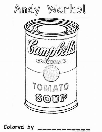 Soup Coloring Warhol Andy Pop Pages Easy