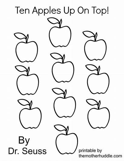 Apples Ten Apple Printable Coloring Pages Worksheet