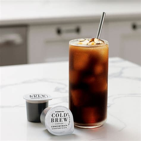Available in black sweetened, black unsweetened, vanilla fig & cream and cocoa & honey with cream. Cold Brew Single-Serve Concentrate Signature Black   Starbucks® Coffee At Home