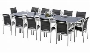 Grande Table De Jardin : grande table de jardin rectangualire blanche et grise 12 places ~ Teatrodelosmanantiales.com Idées de Décoration