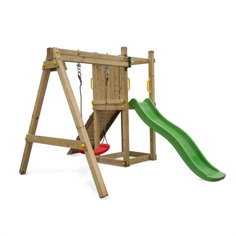 aire de jeux bise en bois avec toboggan 1 balancoire corde et re en pin seche autoclave