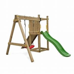 Aire De Jeux Soulet : aire de jeux bise en bois avec toboggan 1 balancoire ~ Dailycaller-alerts.com Idées de Décoration