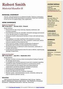 Resume Template Computer Science Material Handler Resume Samples Qwikresume