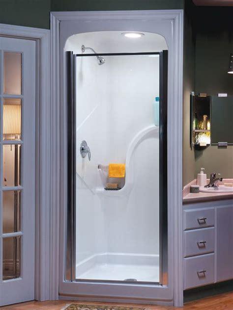 stylish shower stall small bathroom design  corner