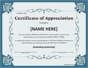 Certificate of appreciation for ms word download at http for Free certificate of appreciation template downloads