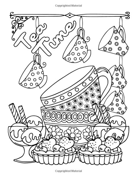 coffee tea sweets adult coloring book including