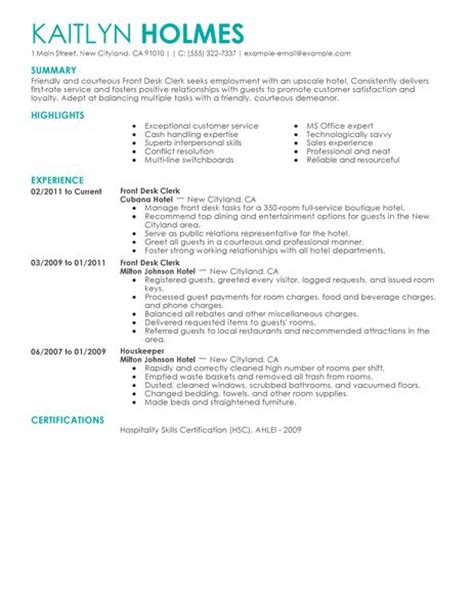 hotel front desk resume sles best front desk clerk resume exle livecareer