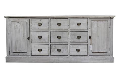 meuble semainier chiffonnier grainetier bois 9 tiroirs ceruse blanc