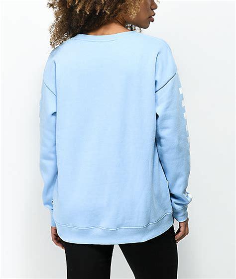 light blue crew neck sweatshirt vans drop v checker light blue crew neck sweatshirt zumiez