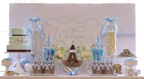 blue christening decorations baby blue white and a contrast of taupe baptism
