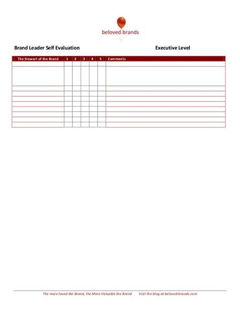 Brand Leader (executive Level) Self Evaluation