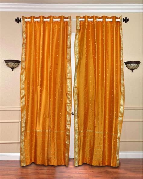 mustard ring top sheer sari curtain drape panel