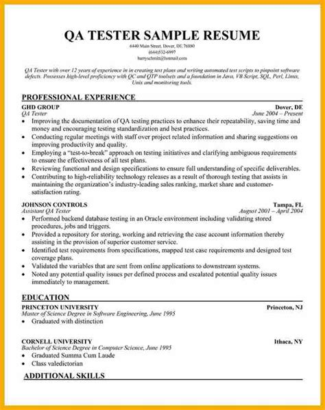 Qa Engineering Resume Template by 11 Qa Tester Resume Bursary Cover Letter
