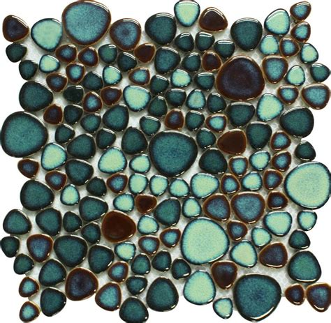 hexagon mosaic tile shower floor green porcelain tile pebbles bath wall backsplash tiles