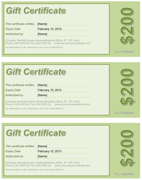 gift certificate template word gift certificate free template for word