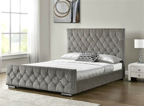 Grey Fabric Bed With Mattress by Upholstered Fabric Bed Frame Velvet Chenille