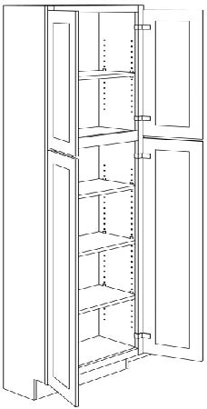 2UC3090 - RTA Newport White Shaker Double Door Utility